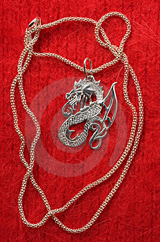 Silver Necklace - A Dragon. Stock Images - Image: 7976044