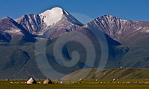 Nomad Family Life On The Grassland In Front  Royalty Free Stock Image - Image: 7977296