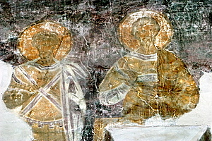 Restoration Of Fresco In Novgorod Stock Photo - Image: 7983370