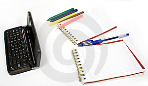 Open Palmtop Opposite Two Notebooks Royalty Free Stock Image - Image: 7985956