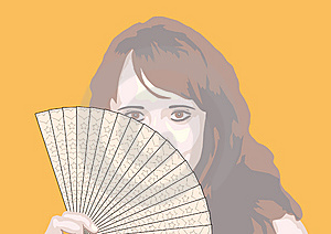 Portrait Of The Girl With Fan Royalty Free Stock Photos - Image: 7986628