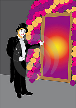 Mime Invites At Mysterious Door Royalty Free Stock Images - Image: 7986769