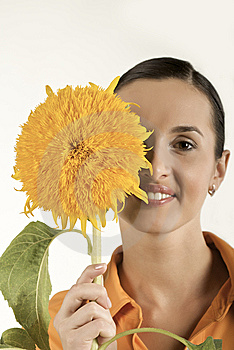 Girl With Sunflower Stock Photos - Image: 7987023