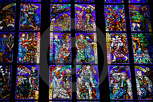 Stained-glass Window In St.Vitus Cathedral Stock Images - Image: 7988554