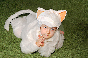 White Kitten Costumed Royalty Free Stock Photo - Image: 7989105