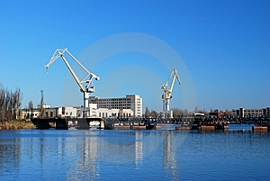 Cranes On The River Port Royalty Free Stock Photo - Image: 7990655