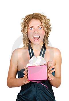 Portrait Of A Astonished Woman With A Gift In Her Stock Images - Image: 7991454