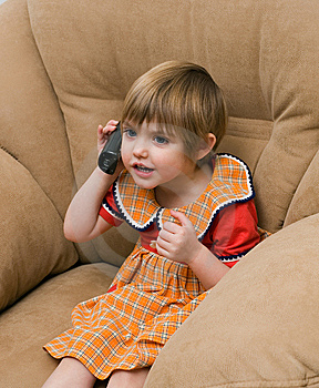 The Little Child With Phone Stock Photos - Image: 7992663
