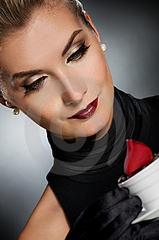 Charming Lady With Coffe Cup Stock Image - Image: 7993171