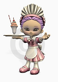 3d Cartoon Waitress Stock Photography - Image: 7994512