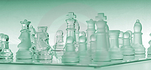 Turquoise Glass Chess Board With Pieces Royalty Free Stock Photo - Image: 7995435