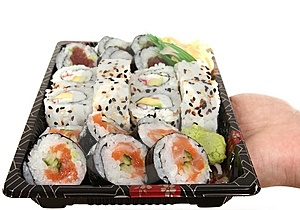 Sushi On Tray Royalty Free Stock Photos - Image: 7995618