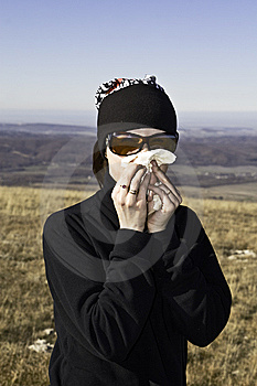 Tourist Girl Blowing Her Nose Royalty Free Stock Photography - Image: 7995727