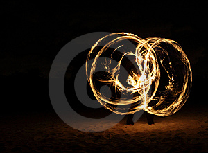 Fire Dancer In The Dark Royalty Free Stock Image - Image: 7996686