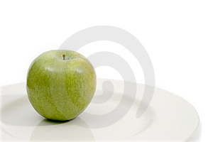 Granny Smith On Plate Stock Photo