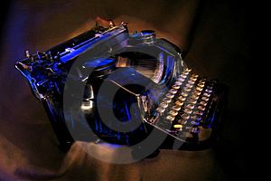Antique Black Typewriter  Painted With Light. Stock Photo