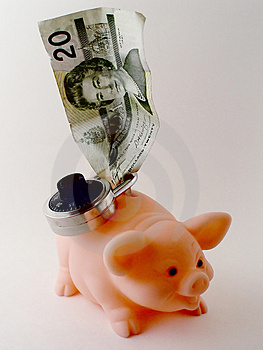 Bills And A Piggy Bank Free Stock Photo