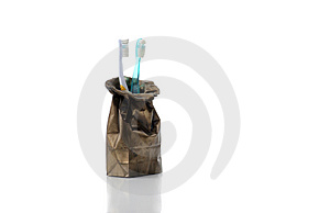 Brushes in bronze bag Royalty Free Stock Photo