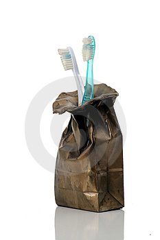 Brushes in a bag Royalty Free Stock Image
