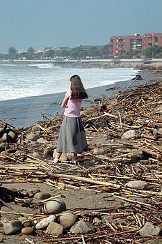 Girl watching waves Stock Photography