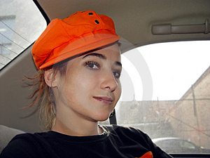 Girl In A Car Stock Photo