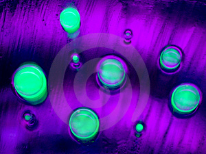 Glowing Green Bubbles Water Drops Royalty Free Stock Images