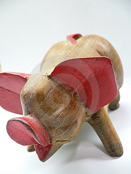 Wooden pig Royalty Free Stock Photo