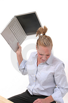Business Woman Throwing Laptop 4 Stock Photos