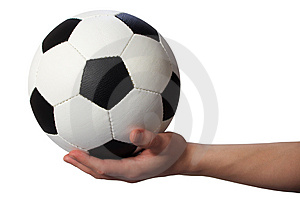 Hand hold soccer ball Stock Photography