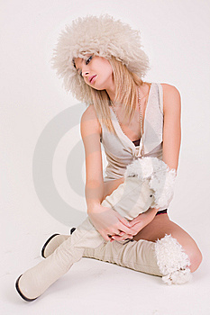 Young Girl In Furry Hat Stock Images - Image: 8001874