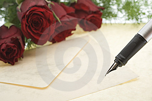Red Roses With Envelope And Pen Royalty Free Stock Images - Image: 8003899