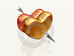 Two Hearts With Arrow Stock Photos - Image: 8003983