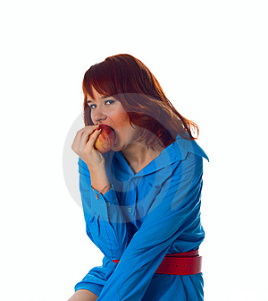 Healthy Woman Bite Apple Stock Photography - Image: 8004682
