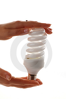 Energy Saver Lamp In The Hands On White Background Royalty Free Stock Photos - Image: 8005858