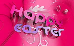 Happy Easter 3d Text And Florals Royalty Free Stock Photo - Image: 8006595