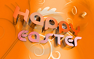 Happy Easter 3d Text And Florals Stock Image - Image: 8006701