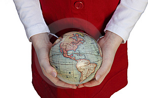 Girl's Hands Holding A Globe Royalty Free Stock Photos - Image: 8008198