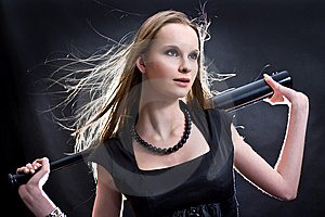 Fashion Girl With The Baseball Bat Royalty Free Stock Photo - Image: 8008665