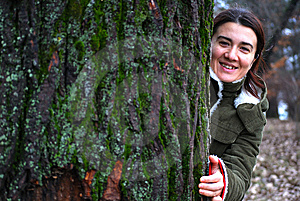 Girl Behind Tree Royalty Free Stock Photos - Image: 8009108