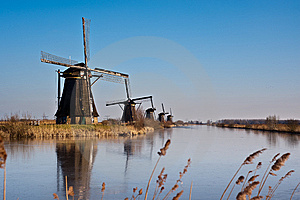 Beautiful Windmill Landscape At Kinderdijk Stock Photography - Image: 8010012