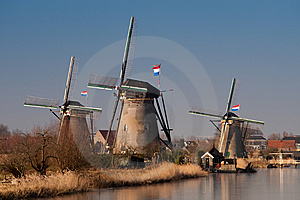 Beautiful Windmill Landscape At Kinderdijk Stock Photography - Image: 8010242