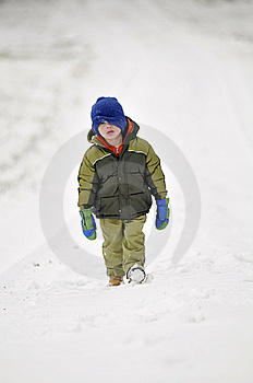 Little Boy Walking In Snow Royalty Free Stock Photo - Image: 8012535