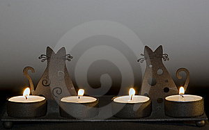 Candlestick With Cats Royalty Free Stock Images - Image: 8014549