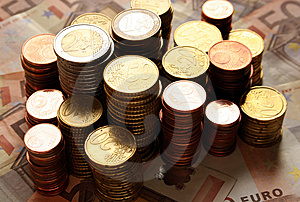 Stacks Of Euro Coins Royalty Free Stock Images - Image: 8017549