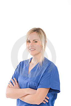 Nurse Isolated On Whitewith Blue Uniform Stock Photo - Image: 8020910