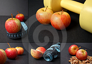 Montage Of Dieting Concepts - Apples Stock Photography - Image: 8021842