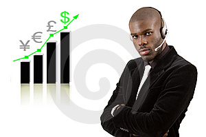 Business Support Man With Rising Graph Royalty Free Stock Images - Image: 8021849