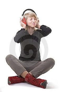 Pretty Girl Enjoying Her Music Stock Photo - Image: 8023720
