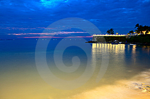 Nightly Lights And The Sea Royalty Free Stock Images - Image: 8024629