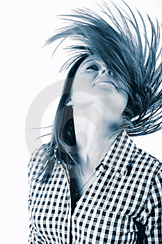 Pretty Young Woman Flinging Long Hair Into Air Royalty Free Stock Images - Image: 8027569